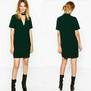 ZARA - green mini choker dress